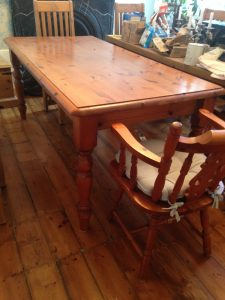 before pine table and chairs