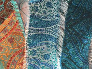 Turquoise themed fabrics for lounge mood board