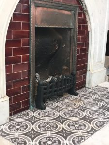 patterned hearth tiles