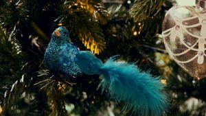 christmas decorations teal bird