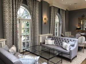 Chewton Glen Hotel grey lounge