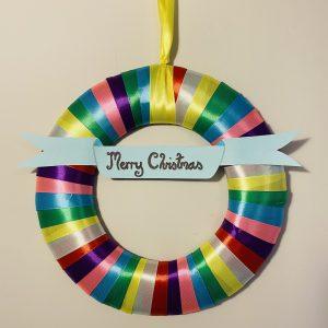 rainbow wreath ribbon