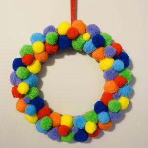 rainbow wreath pom poms